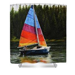 Sailing On Flathead Shower Curtain by Kim Lockman