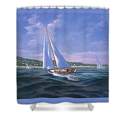 Sailing On Monterey Bay Shower Curtain