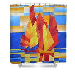 Shower Curtain featuring the painting Sailing On The Seven Seas So Blue by Tracey Harrington-Simpson
