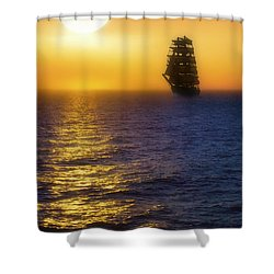 Sailing Out Of The Fog At Sunrise Shower Curtain