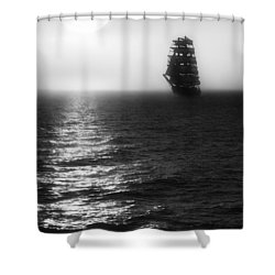Sailing Out Of The Fog - Black And White Shower Curtain