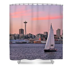 Sailing Puget Sound Shower Curtain by Adam Romanowicz