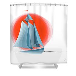 Sailing Red Sun Shower Curtain