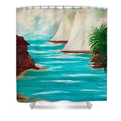 Shower Curtain featuring the painting Sailing The Coast Of California by Sherri  Of Palm Springs