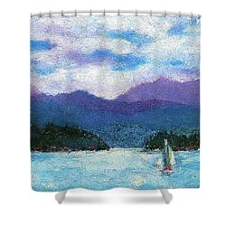 Sailing The Lake Shower Curtain by David Patterson