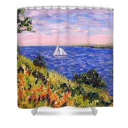 Sailing Through Belfast Maine Shower Curtain by Pamela Parsons