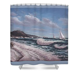 Sailing Toward Point Lobos Shower Curtain