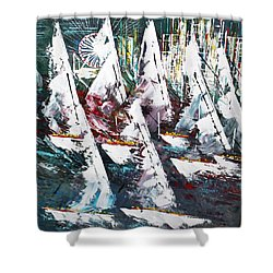 Sailing With Friends - Sold Shower Curtain by George Riney