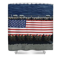 Shower Curtain featuring the photograph Sailors And Marines Display by Stocktrek Images