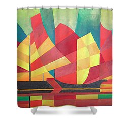 Shower Curtain featuring the painting Sails And Ocean Skies by Tracey Harrington-Simpson