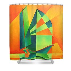 Shower Curtain featuring the painting Sails At Sunrise by Tracey Harrington-Simpson