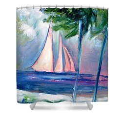 Sails In The Sunset Shower Curtain by Patricia Taylor