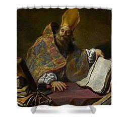 Saint Ambrose Shower Curtain by Claude Vignon