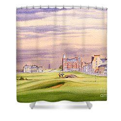 Shower Curtain featuring the painting Saint Andrews Golf Course Scotland - 17th Green by Bill Holkham