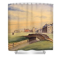 Shower Curtain featuring the painting Saint Andrews Golf Course Scotland - 18th Hole by Bill Holkham