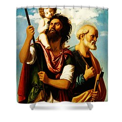 Saint Christopher With Saint Peter Shower Curtain by Bill Cannon