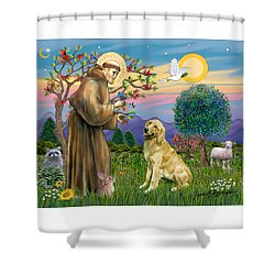 Saint Francis Blesses A Golden Retriever Shower Curtain by Jean Fitzgerald