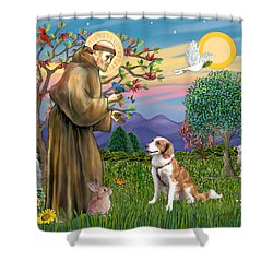 Saint Francis Blesses A Welsh Springer Spaniel Shower Curtain by Jean Fitzgerald