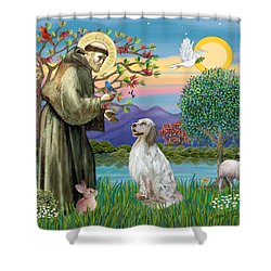 Saint Francis Blesses An English Setter Shower Curtain by Jean B Fitzgerald