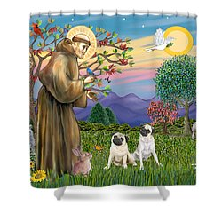Saint Francis Blesses Two Fawn Pugs Shower Curtain by Jean Fitzgerald