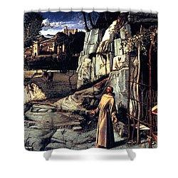 Saint Francis In Ecstasy 1485 Giovanni Bellini Shower Curtain by Karon Melillo DeVega