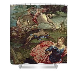 Saint George And The Dragon  Shower Curtain by Jacopo Robusti Tintoretto