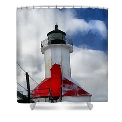 Saint Joseph Michigan Lighthouse Shower Curtain by Dan Sproul