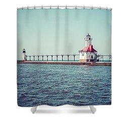 Saint Joseph Michigan Lighthouse Retro Picture  Shower Curtain by Paul Velgos