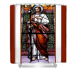 Saint Joseph  Stained Glass Window Shower Curtain