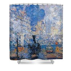 Saint Lazare Station Shower Curtain by Claude Monet