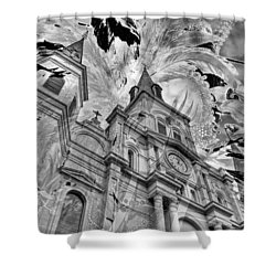 Shower Curtain featuring the photograph Saint Louis Cathedral And Spirits by Ron White