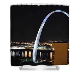 Shower Curtain featuring the photograph Saint Louis Skyline And Jefferson Expansion Arch by Jeff at JSJ Photography