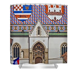Saint Mark Church Facade Vertical View Shower Curtain