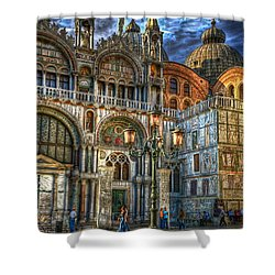 Saint Marks Square Shower Curtain by Jerry Fornarotto