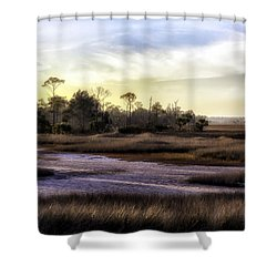 Saint Marks Wetland Sunset Shower Curtain by Lynn Palmer
