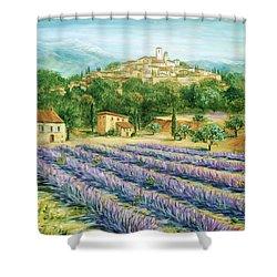 Saint Paul De Vence And Lavender Shower Curtain by Marilyn Dunlap