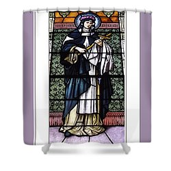 Saint Rose Of Lima Stained Glass Window Shower Curtain by Rose Santuci-Sofranko