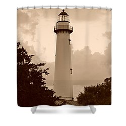 Saint Simons Lighthouse In Sepia Shower Curtain by Bob Sample