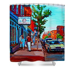 Shower Curtain featuring the painting Saint Viateur Bagel Shop by Carole Spandau