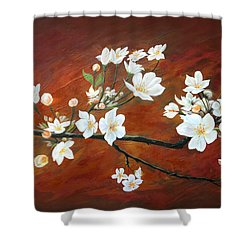 Sakura Shower Curtain by Angel Ortiz