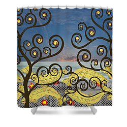 Shower Curtain featuring the digital art Salmon Dance Blue by Kim Prowse