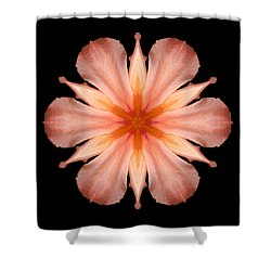 Salmon Daylily I Flower Mandala Shower Curtain by David J Bookbinder