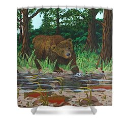Salmon Fishing Shower Curtain by Katherine Young-Beck