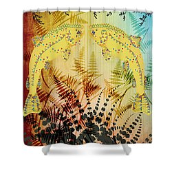 Shower Curtain featuring the digital art Salmon Love Gold by Kim Prowse