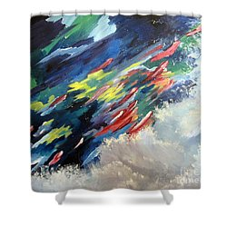Shower Curtain featuring the painting Salmon Run by Carol Sweetwood