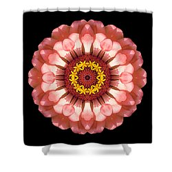 Salmon Zinnia Elegans Iv Flower Mandala Shower Curtain by David J Bookbinder