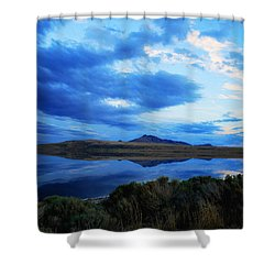 Salt Lake Antelope Island Shower Curtain by Matt Harang