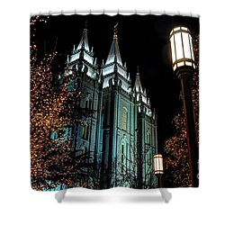 Salt Lake City Mormon Temple Christmas Lights Shower Curtain