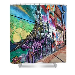 Shower Curtain featuring the photograph Salt Lake City - Mural 3 by Ely Arsha