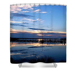 Salt Lake Marina Sunset Shower Curtain by Matt Harang